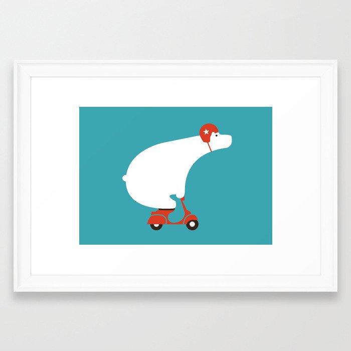 Polar bear on scooter Framed Art Print by budikwan | Society6