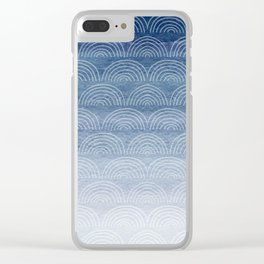 Blue Ombre Shibori Style Pattern, Indigo, Rainbow Pattern, Blue Sky Clear iPhone Case