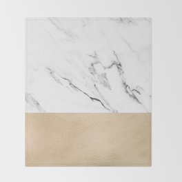 White Marble with Black and Copper Bronze Throw Blanket