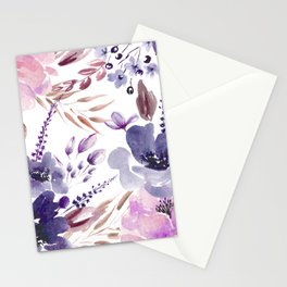 Watercolor giant flowers Stationery Cards