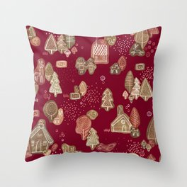 Hansel and Gretel Fairy Tale Gingerbread Pattern Throw Pillow