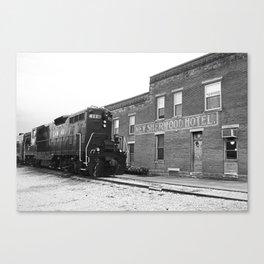 Train and Sherwood Hotel Canvas Print
