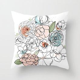 Inky Camellias Throw Pillow