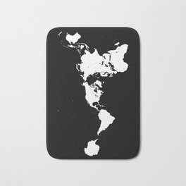 Dymaxion World Map (Fuller Projection Map) - Minimalist White on Black Bath Mat