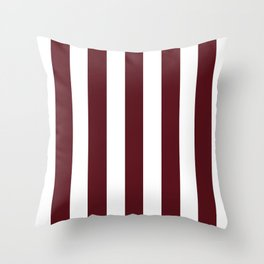 Chocolate cosmos purple - solid color - white vertical lines pattern Throw Pillow