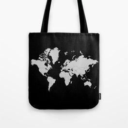 Minimalist World Map Gray on Black Background Tote Bag