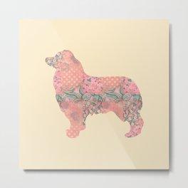 Australian Shepherd Vintage Floral Pattern Shabby Chic Pink Peach Salmon Teal Cream Metal Print