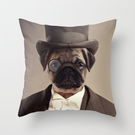 (Very) Distinguished Dog Throw Pillow