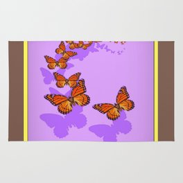 Monarch Butterflies Migration in Lilac Purple Graphic Art Rug