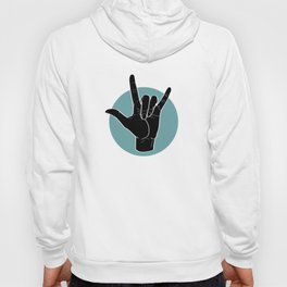 ILY - I Love You - Sign Language - Black on Green Blue 00 Hoodie