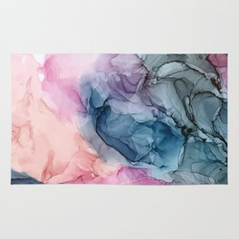 Heavenly Pastels: Original Abstract Ink Painting Rug