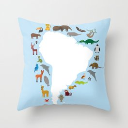 South America sloth anteater toucan lama armadillo manatee monkey dolphin Maned wolf raccoon jaguar Throw Pillow