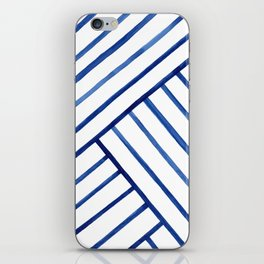 Watercolor lines pattern | Navy blue iPhone Skin