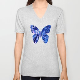 Fluid Butterfly (Blue Version) Unisex V-Neck