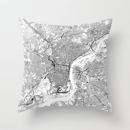 Philadelphia White Map Throw Pillow