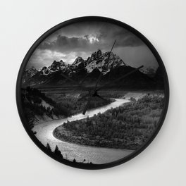 Ansel Adams - The Tetons and Snake River Wall Clock