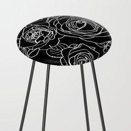 Feminine and Romantic Rose Pattern Line Work Illustration on Black Counter Stool