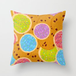 Frosted sugar cookies, Chocolate chip cookie, Italian Freshly cookies w Throw Pillow