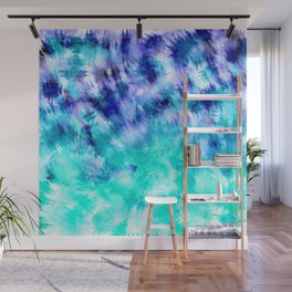 modern boho blue turquoise watercolor mermaid tie dye pattern Wall Mural