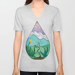 Landscape in a Raindrop Unisex V-Neck