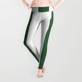 Hunter green - solid color - white vertical lines pattern Leggings