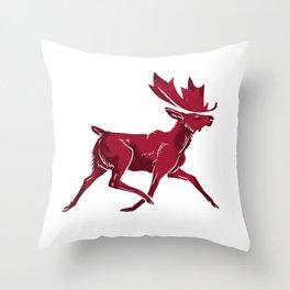 Canada Day Moose Throw Pillow