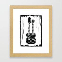 Slash's (Guns N' Roses) Gibson EDS-1275 guitar linocut print Framed Art Print