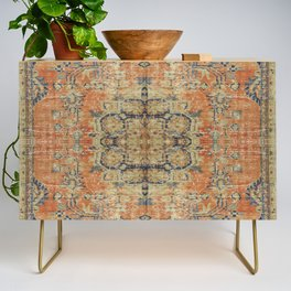 Vintage Woven Coral and Blue Credenza