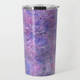 Purple and faux silver swirls doodles Travel Mug
