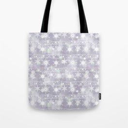 Openwork white snowflakes on light grey. Tote Bag