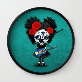 Day of the Dead Girl Playing Salvadorian Flag Guitar Wall Clock
