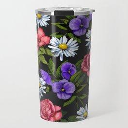 Flowers on Black Background, Original Art Travel Mug