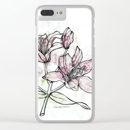 BW DAY LILY Color Splash 2 Clear iPhone Case
