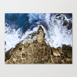 An abstract of the ocean and the coastal rocks. Canvas Print