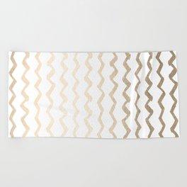 Golden Zigzag Beach Towel