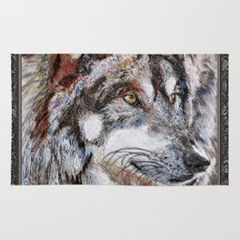 Gray Wolf Watches and Waits Rug