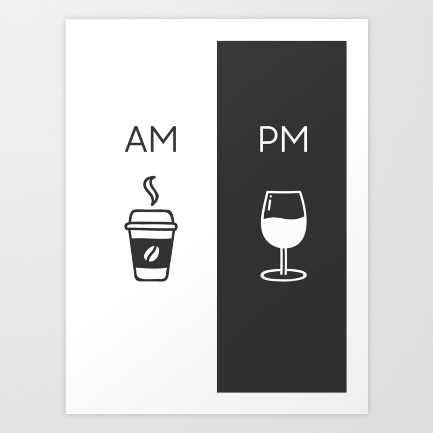 Am Pm Kitchen Poster Coffee Wine Decor Home Decor Wall Art Am Pm Sign Wine Sign Art Print By Fingerartprints Society6