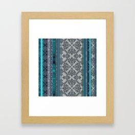 Teal, Aqua & Grey Vintage Bohemian Wallpaper Stripes Framed Art Print