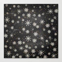 Boho Black Snowflakes Canvas Print