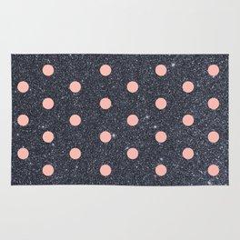 Black Glitter and Pink Polka Dots Rug
