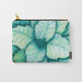 Turquoise and Gold Leaves Carry-All Pouch
