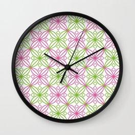 Pink and green circular abstract pattern Wall Clock