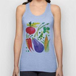 Veg Out - Vegetable, Veggies, Watercolor, Food, Beet, Carrot, Pea Unisex Tank Top
