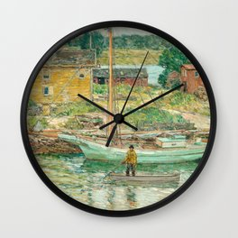 Oyster Sloop, Cos Cob 1902 by Childe Hassam Wall Clock