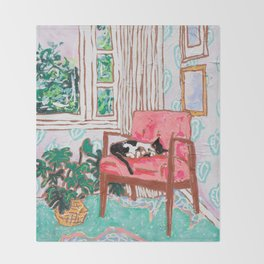 Little Naps - Tuxedo Cat Napping in a Pink Mid-Century Chair by the Window Throw Blanket
