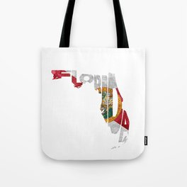 Florida Typographic Flag Map Art Tote Bag