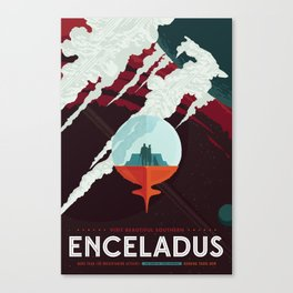 NASA Retro Space Travel Poster #3 - Enceladus Canvas Print