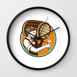 Woman Bartender Pouring Keg Barrel Beer Retro Wall Clock