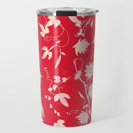 Red Passiflora Floral Pattern Travel Mug