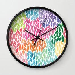 Rainbow Watercolor Leaf Teardrop Pattern Wall Clock